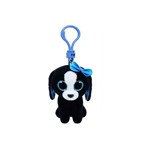 Porte-clé peluche Beanieboos Chien noir aux yeux bleus - www.beanieboos.fr