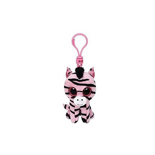 Porte-clés clip Beanie Boos petit zèbre rose et noir - www.beanieboos.fr